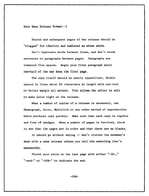 Sample news release format (second and subsequent pages)